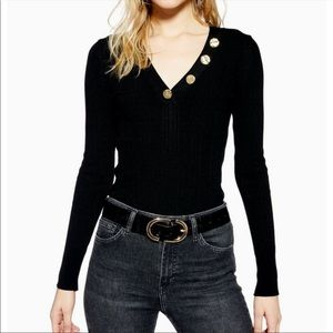 Topshop hammered button sweater